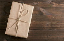 brown paper wrapped gift