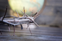a crown of thorns on wood