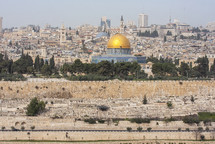 a view of the dome of the rock and the walled old city Jerusalem from the top of the mount of olives