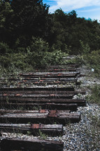 old wooden railroad beams from an abandoned track