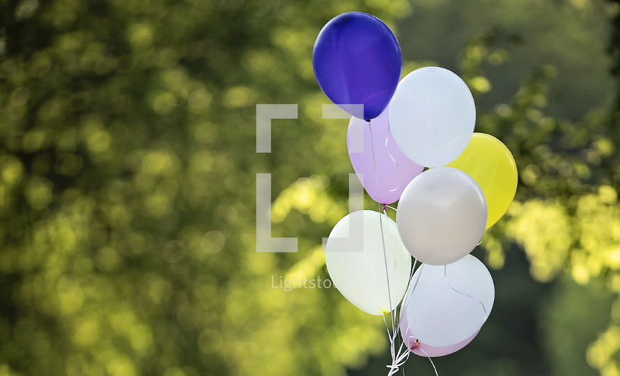 helium balloons outdoors