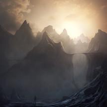 Surreal mountain landscape with land bridges