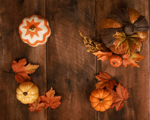 fall background on wood
