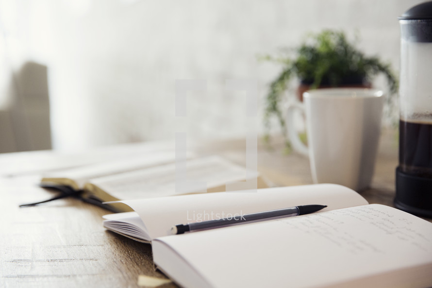 pencil, journal, open Bible, coffee mug, morning devotional, house plant