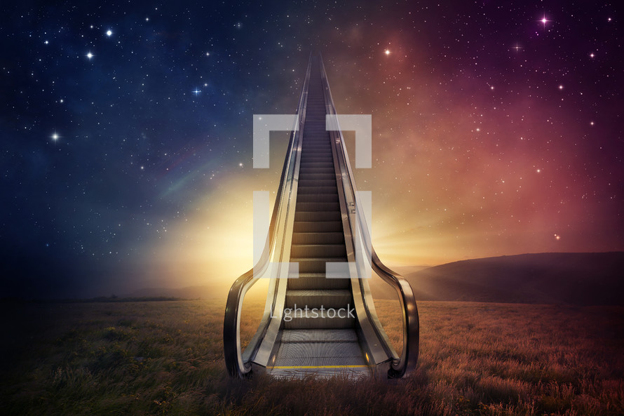 An escalator in a field leading into a starry night sky.