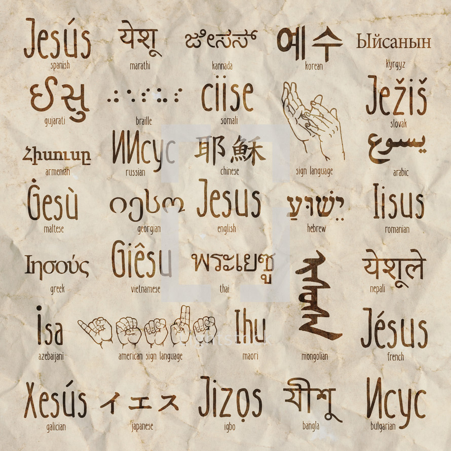 word Jesus in various languages