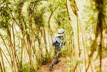 a child running through a forest