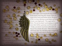 Close-up Christmas scripture - angels announcing Jesus birth, with angels wing and jewels. Luke 2:8-12