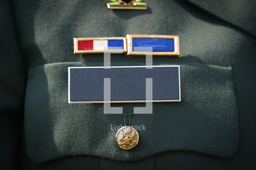 blank military name badge on uniform.