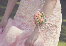 a beautiful floral graduation dress and flower