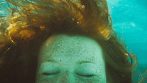 a girl under water
