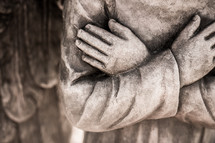 closeup of statue  - angel hands