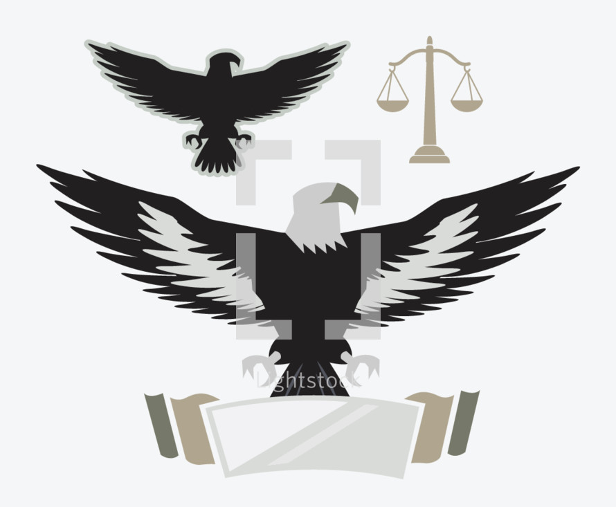 Justice, eagle, banner, scales, scales of justice, icon