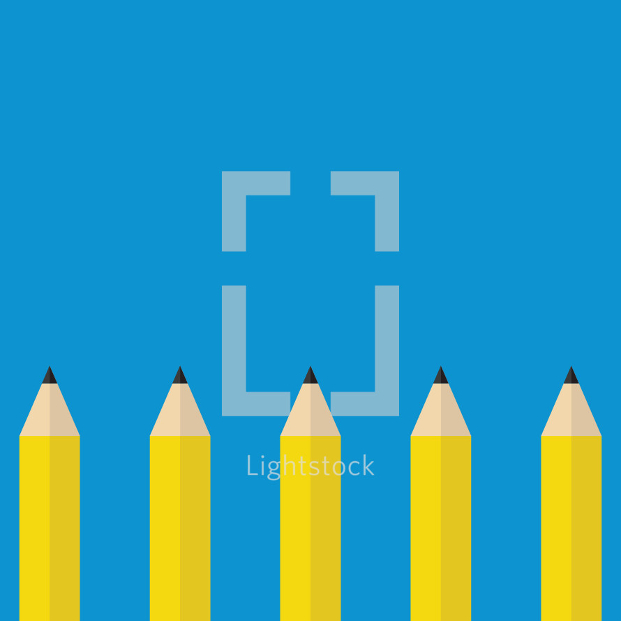 A row of sharpened yellow pencils on a blue background.