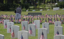 Visiting the cemetery on Memorial Day.