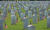 American flags and grave markers in a cemetery