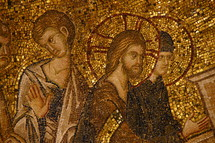 Ancient golden mosaic of Jesus and his disciples