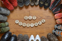 Get together with border of shoes
