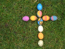 Cross out of colored eggs, 