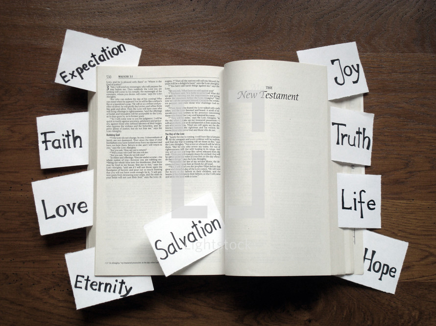 Bible with topic notes open