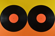 records on orange and yellow