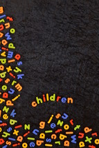 the word children in colorful magnetic letters