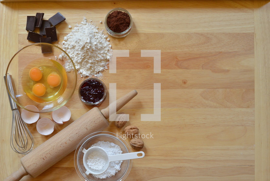 Border of baking ingredients with copy space to the right side