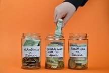 donation jars full of money