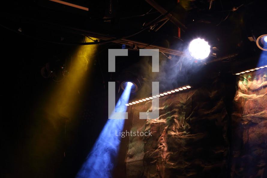 fog machine and spotlights