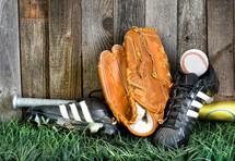 cleats, baseball bat, baseball, baseball glove, grass, sports, wood fence, spring