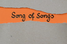 torn open kraft paper over orange paper with the name of the book Song of Songs