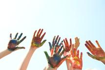 finger paint on children's hands