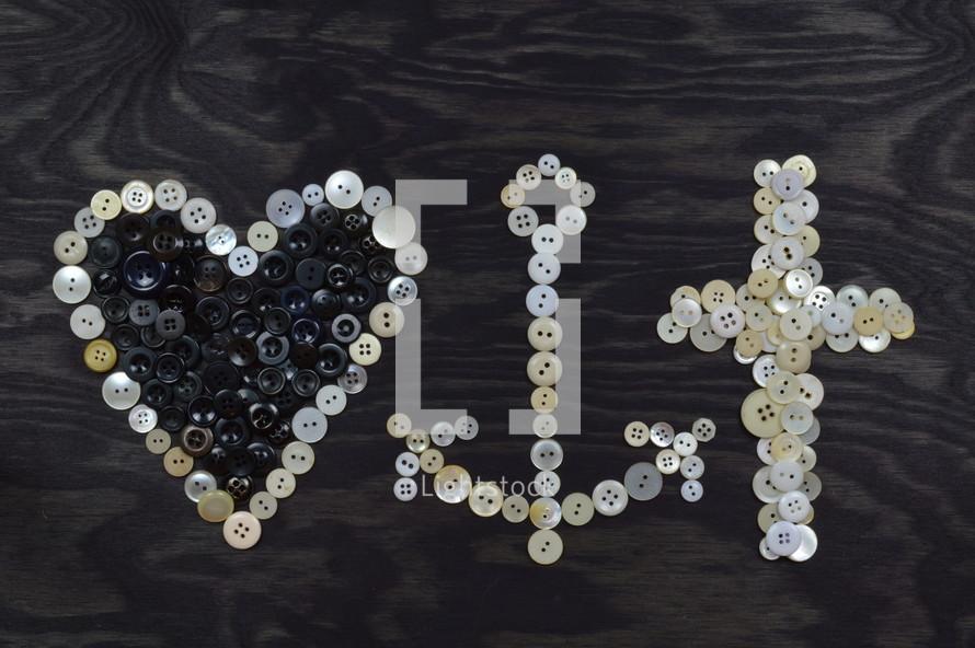 heart, anchor, cross, buttons