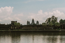 temple across a river in Cambodia