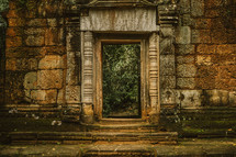 door to ruins in Cambodia