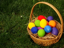 Multicolored  Easter eggs in a basket in the grass.