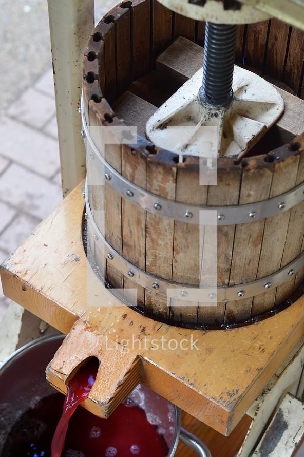 grape press at a winery