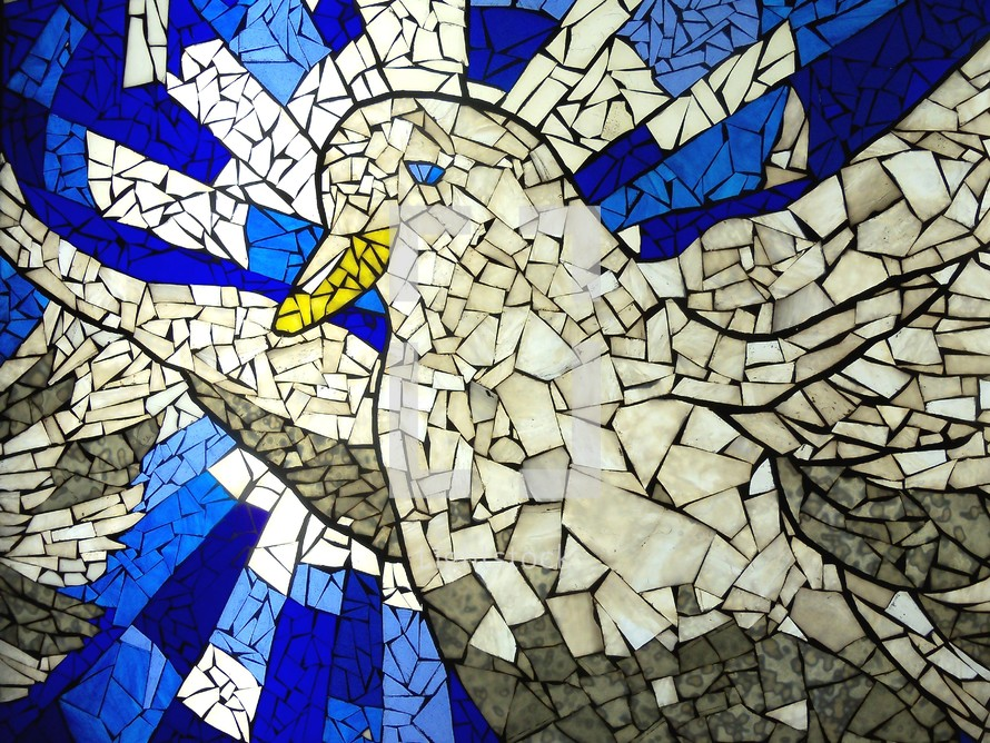 A tile mosaic of the Holy Spirit taking the form of a Dove in a stained glass mosaic style tile pattern on the wall of a church or cathedral building.