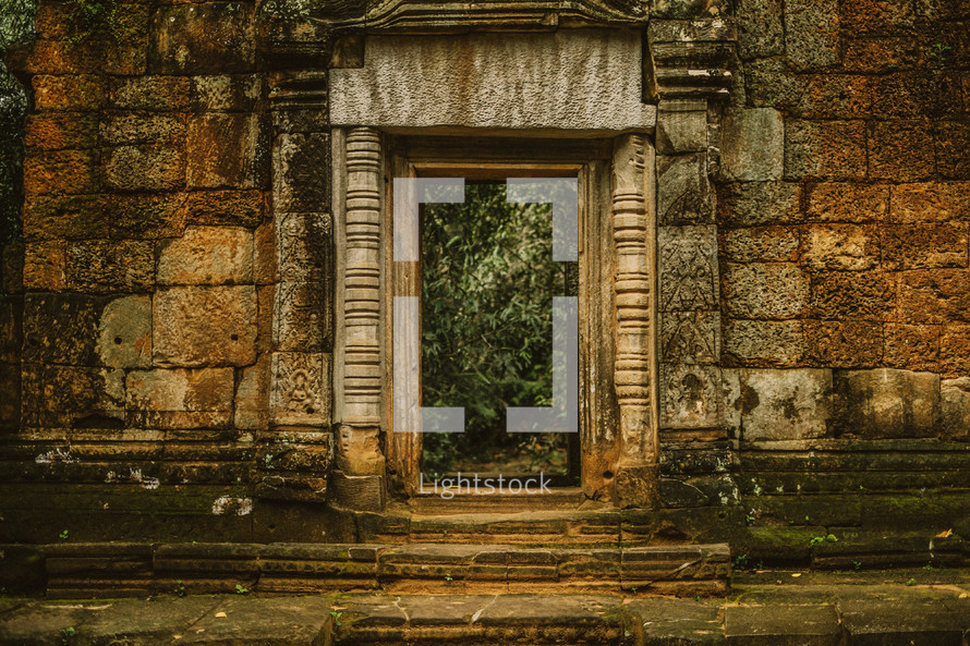 Entrance to temple ruins in Cambodia.