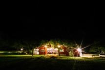 red barn at night