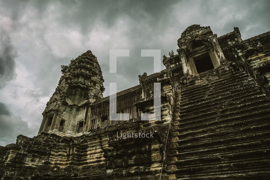 steps on temple ruins in Cambodia