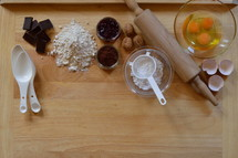 Border of baking ingredients with copy space below
