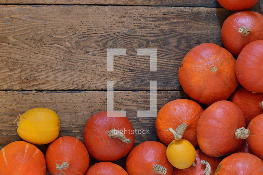 Pumpkins on wooden planks.