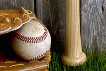 baseball, glove, and baseball bat