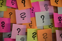 question marks on sticky notes