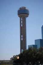 Reunion Tower in Dallas during the day.