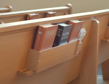 Hymnals and Bibles in the back of pews