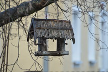 old bird feeder hanging from a tree