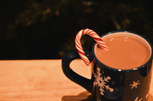 candy cane in hot cocoa