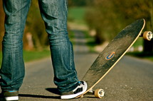 foot on a skateboard